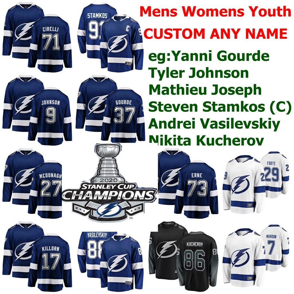 2020 Stanley Cup Champions Tampa Bay Lightning Hockey Jersey Luca Witkowski Jersey gen Rutta Braydon Coburn Mitchell Stephens personalizzato stitche