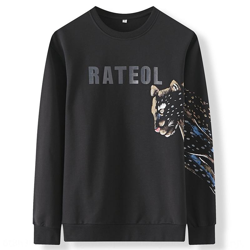 wLEGe Nueva Otoño larga y gruesa de los hombres de cuello redondo plus plus tamaño de impresión para el estilo 9oSfs capa de grasa de base suéter negro capa del suéter de la manga de los hombres