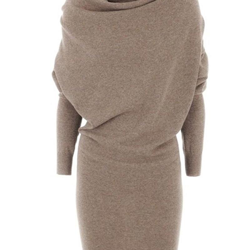 Delle donne Casual Maglione Dress Primavera Calda Black Black Elegante TurtrleNeck Blend Lady Lady Camel Modern Fashion Ufficio Bodycon Dress Nuovo 201027