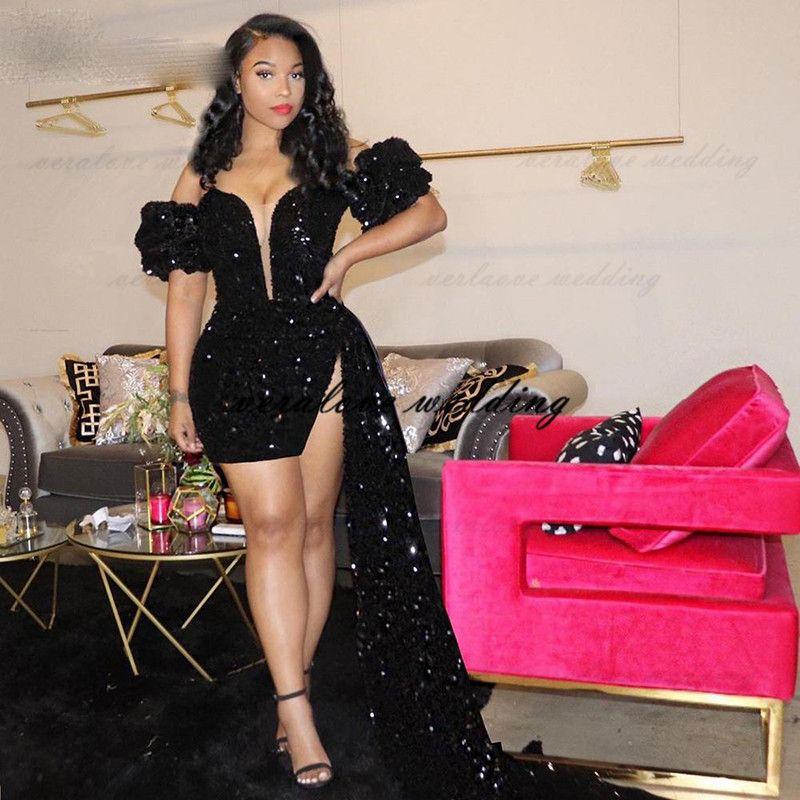 Black Short Prom Dress 2021 Off the Shoulder Sexy Deep V-neck Mini Skirt Ruffles African Girl Evening Party Wear Vestidos