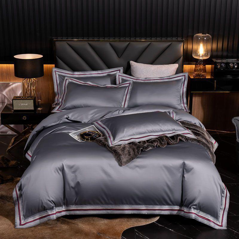Luxe Doux 1000TC en coton égyptien Hôtel housse de couette plat drap de lit Taies Bleu Gris Red Queen King Size Ensembles de literie Y1107