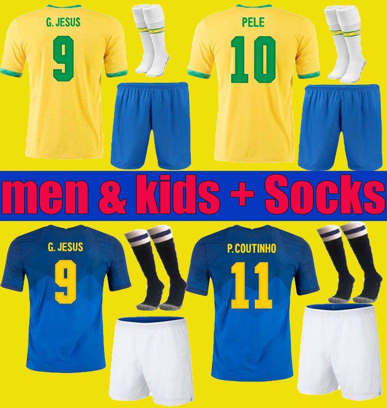 Brasil Neres Coutinho Futbol Forması 2020 2021 Camiseta De Futebol Brazils G.jesus Firmo 20 21 Futbol Gömlek Erkekler + Çocuk Seti Seti Üniforma