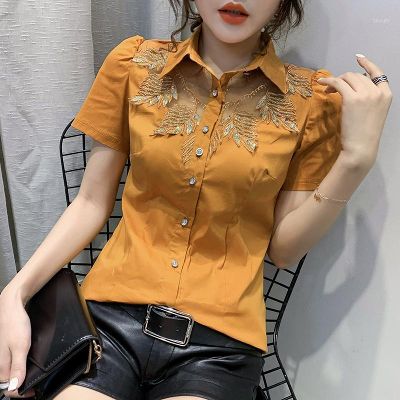 Summer Sexy Embroidery Blouse European Clothes Fashion Women Beading Shiny Shirt Short Sleeve Ropa Mujer Tops 2020 New T046071