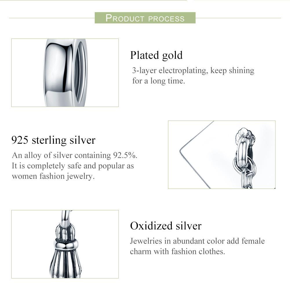 Wostu Popular 925 plata esterlina graduada trinchera tapa largo tassel colgante encanto ajuste mujer pulsera bricolaje regalo de joyería CQC459