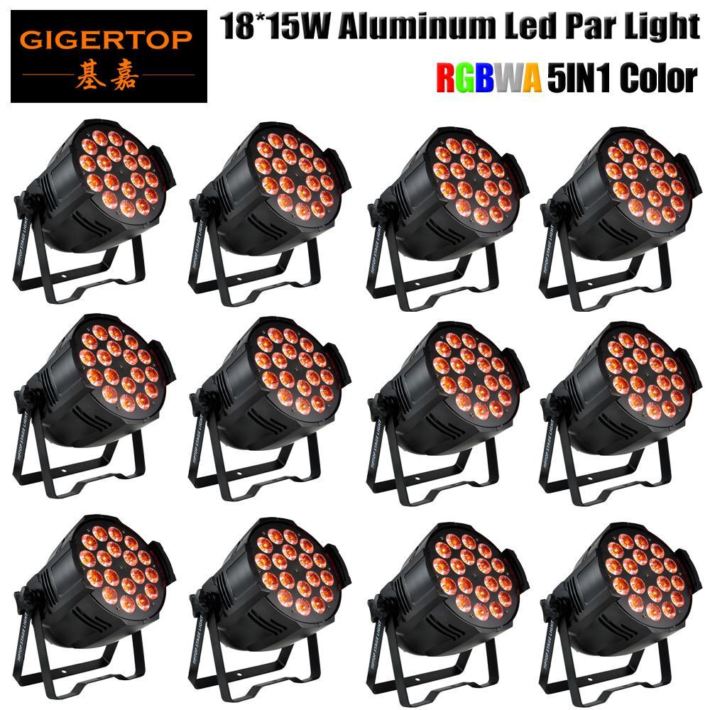 Gigertop 12 unidades Profesional 18x15W RGBWA PAR etapa de DMX LED efecto de iluminación DMX512 maestro-esclavo dj 5en1 RGBWA color