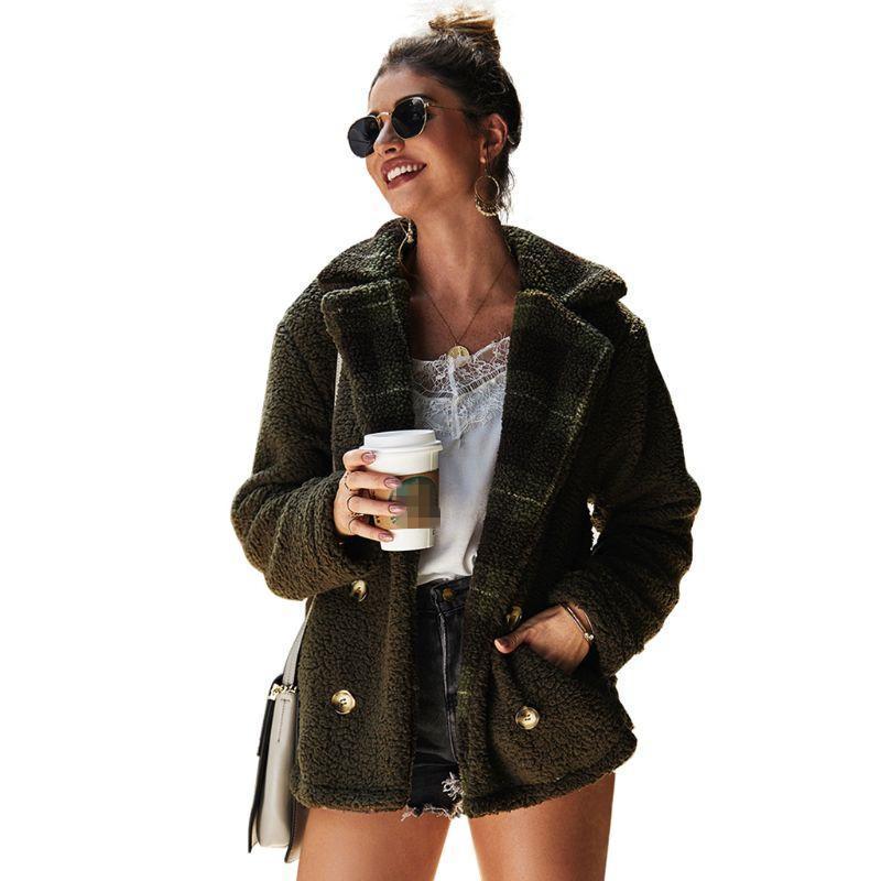겨울 여성 양털 푹신한 재킷 재킷 리버 칼라 더블 브레스트 따뜻한 두꺼운 대형 포켓 자켓 숙녀 따뜻한 코트