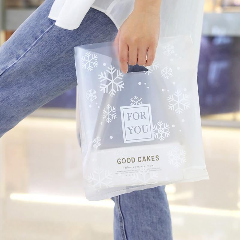 Подарочная упаковка 50 шт. Пластиковая замораживаемая снежинка Упаковочная сумка с ручкой, 3 размера Большая сумка для кормления, конфеты