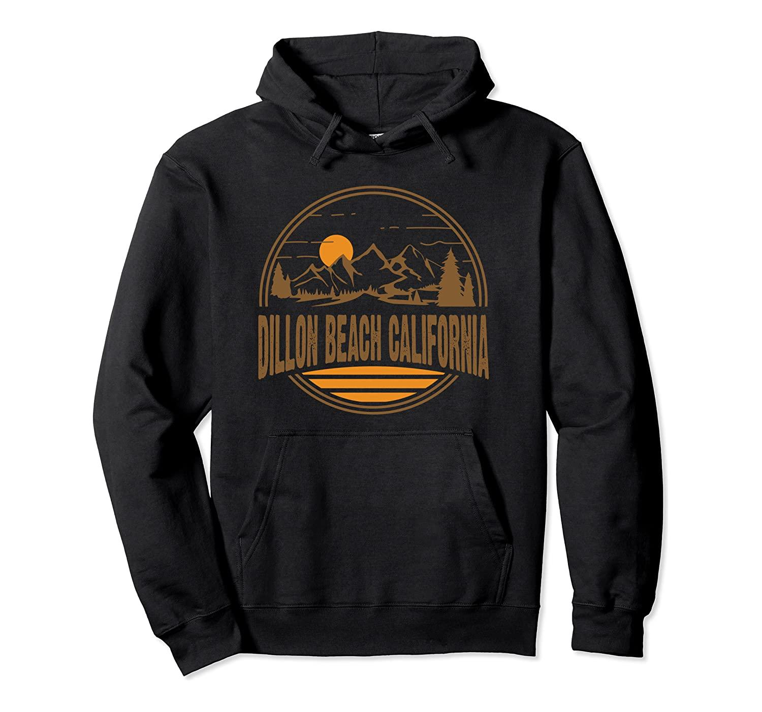 Vintage Dillon Beach California Mountain Hiking Stampa Pullover con cappuccio unisex di formato S-5XL con colore nero / grigio / blu / azzurro reale / Scuro Heather