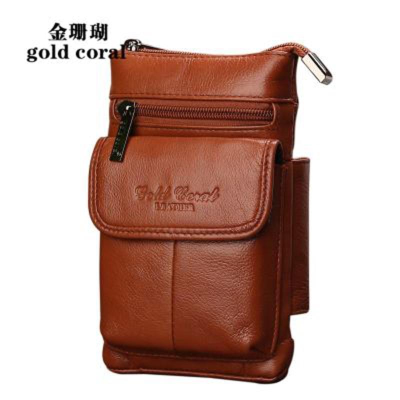 Paquetes de cintura de cuero genuino de coral de oro Paquete de cinturón Fanny Pack Bolsa de cinturón bolsa de teléfono Viajes Hombro Crossbody Bolsos Macho Pequeño Bolsa de cintura