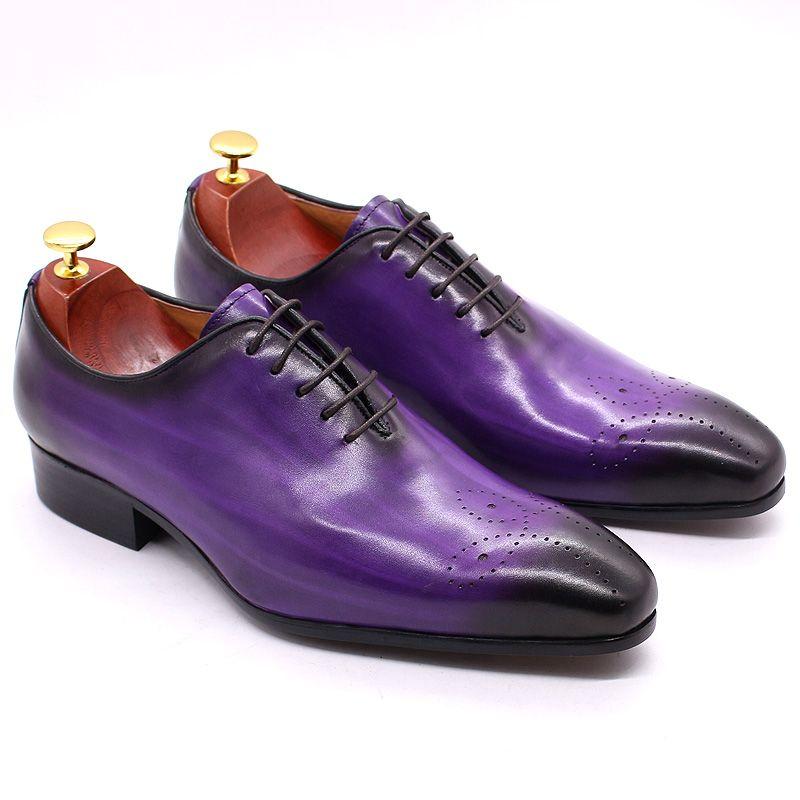 Обувь Итальянские Мужские Платье Обувь Натуральная Кожа Синие Фиолетовые Оксфорды Мужчины Свадебные Обувь Вечеринка Целая Отрезать Формальные для мужчин
