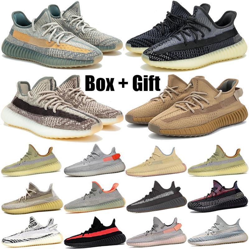 Kanye West Top Quality Running Shoe Black Reflective Cinder Yecheil Cream White Static Earth Static Linen Men Women Trainner Sneakers 36-48