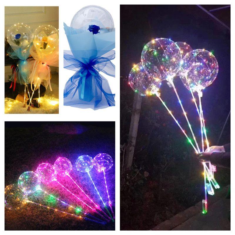 2021 Rose Bobo Globo Globos con mango parpadeando LED Luces nocturnas Bobo Bola Transparente Claro Globos Stick For Wedding Holiday Valentine's Day