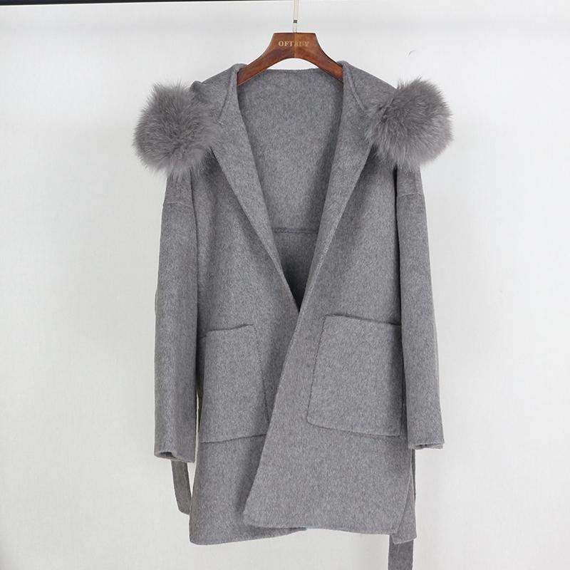 2020 Gerçek Kürk Kış Ceket Kadınlar Gevşek Doğal Tilki Kürk Yaka Kaşmir Yün Karışımları Giyim Streetwear