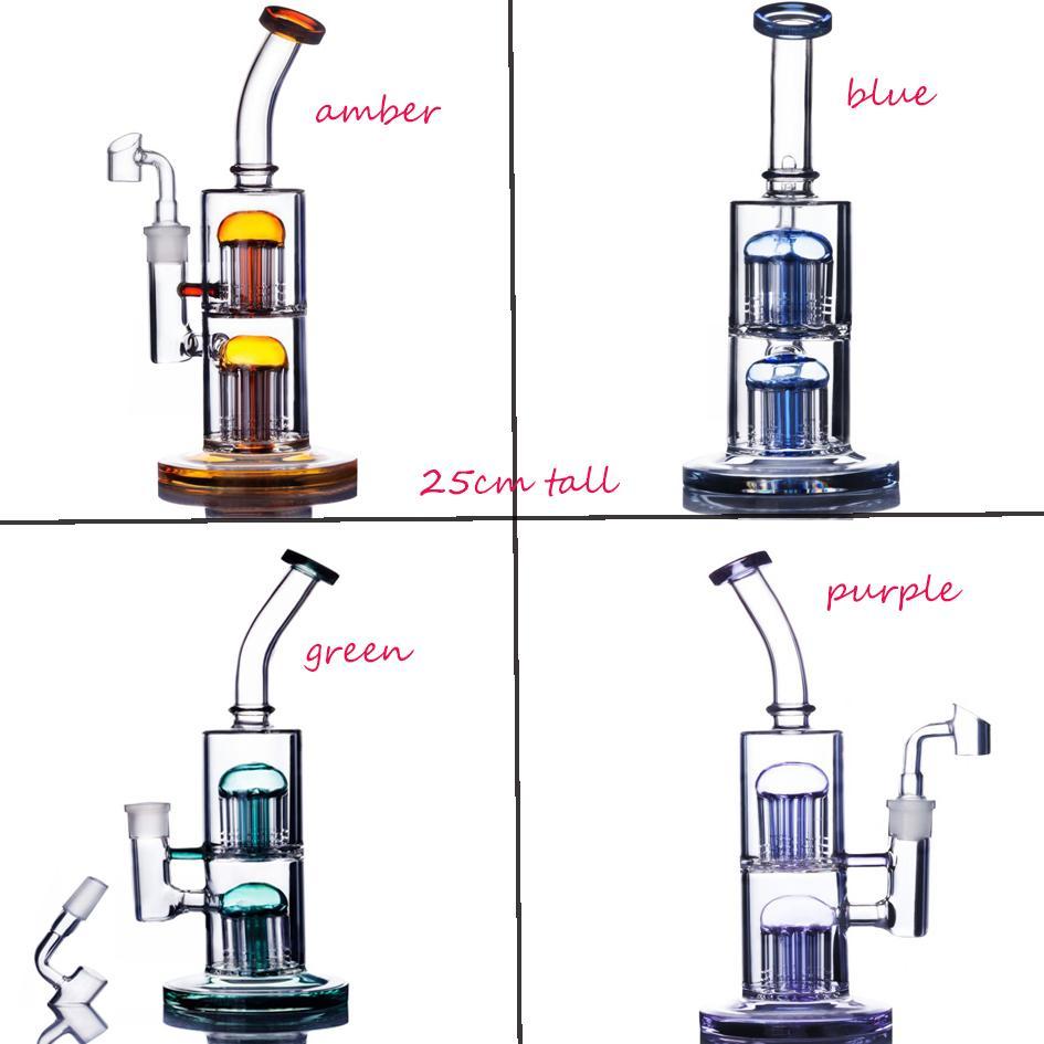 더블 트리 퍼크 리사이클 오일 굴착기 로터 봉수 두꺼운 유리 물 봉지 무지개 독특한 유리 봉 장비 흡연 액세서리