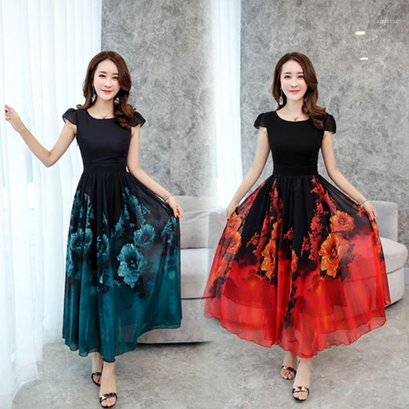 Повседневные платья плюс размер летние шифоновые женщины платье элегантный старинный цветок печать богемный длинный пляж 2021 Maxi Party Vestido1
