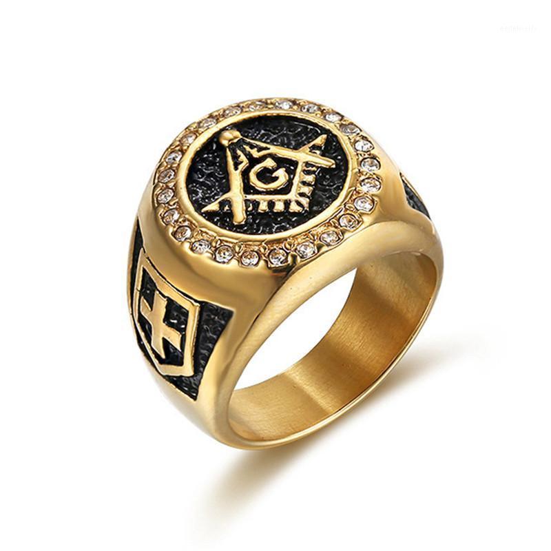 Vendita calda Gioielli di moda Uomo Vintage Charm Mason Mason FreeMason Anelli Masonic Punk Acciaio inox Anello di colore oro per monili da uomo1