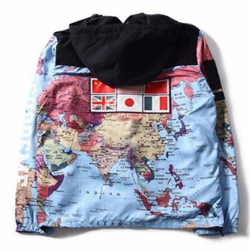 Moda Primavera Autunno cucitura Cappuccio Abbigliamento Uomo Donna Stylist World Map Giacca Mens stilista del cappotto del rivestimento delle parti superiori outwear
