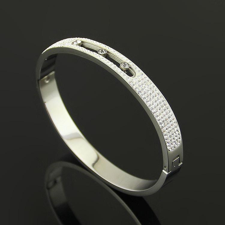 Gold 18 Karat CZ Rose Bangle Mode-Tel Full 3 Diamond Slide Armband