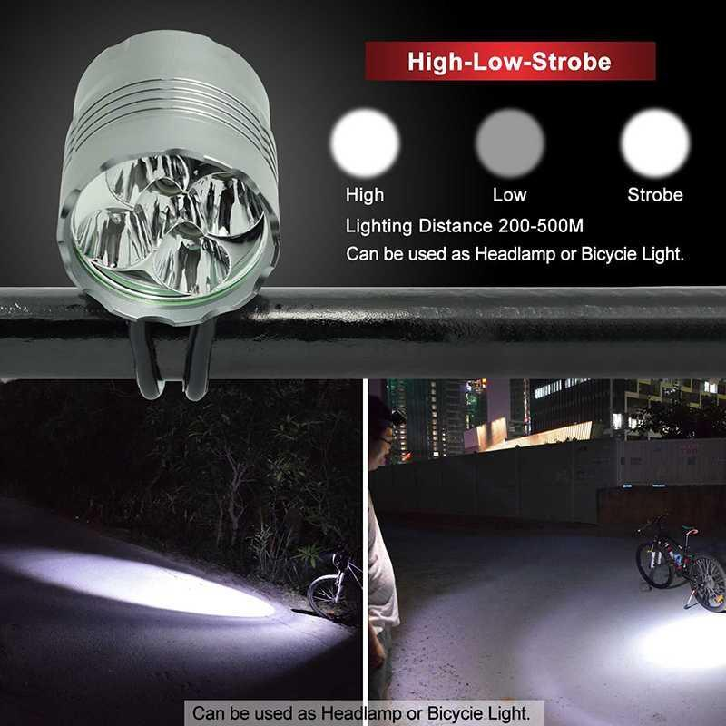 3 Modes 5* XM-L T6 LED Bike Front Light Rechargeable MTB Road Headlight Power 18650 Battery Pack AC Charger Lampluz bicicleta
