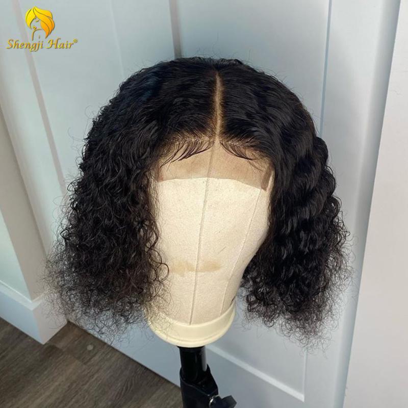 İnsan Saç Peruk 360 Dantel Frontal Peruk Öncesi Bebek Saç Ile Pretted Brezilyalı Remy Tutkalsız Kıvırcık 370 Sahte Skallı Shengji