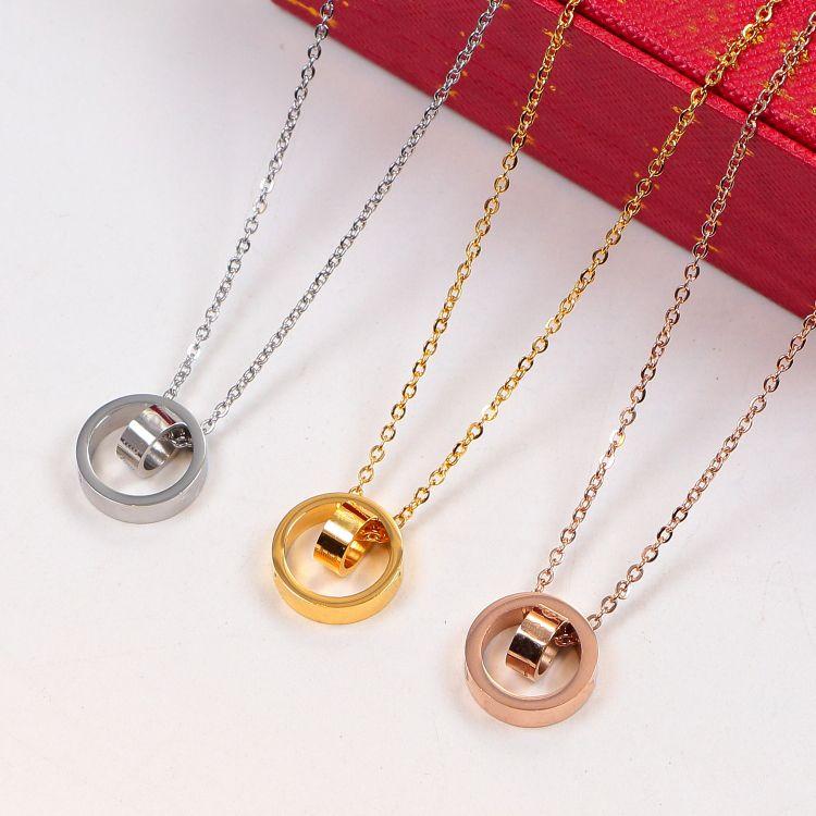 2021 قلادة دائرة مزدوجة ارتفع الذهب الفضة اللون قلادة للنساء خمر طوق زي مجوهرات مع مربع مجموعة