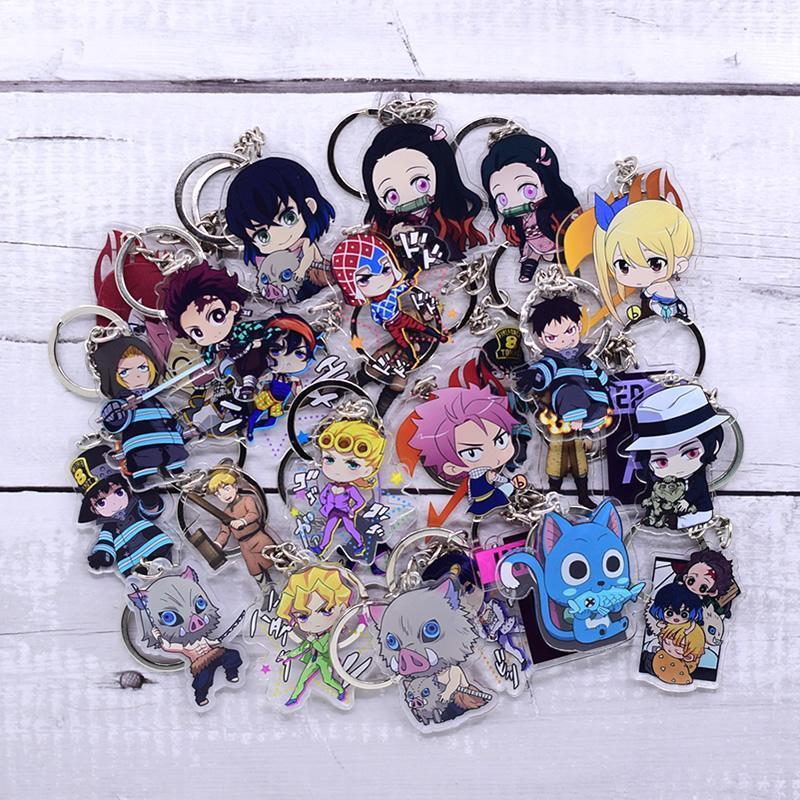 Yeni Karikatür Anahtarlık Demon Slayer / My Hero Academia Anahtarlık Ring Anime Fairy Tail / Yangın Kuvvet Anahtarlık Sıcak Satış
