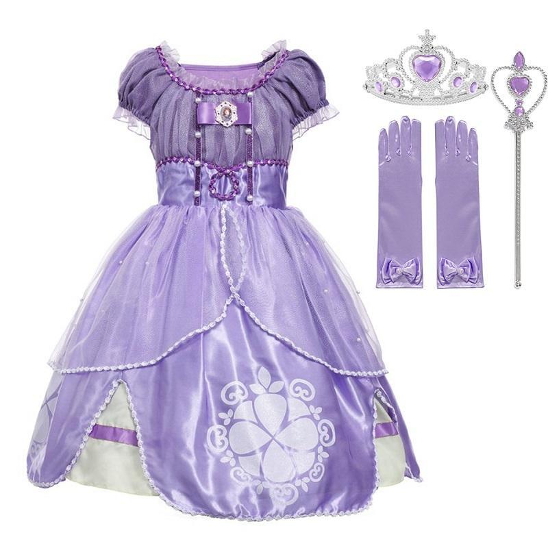 Muababy Girls Sophia Princess Costume Дети 5 слоев Цветочные Софии Партия Мантия Девушка Halloween Fance Dress Up Outfit Одежда 201020