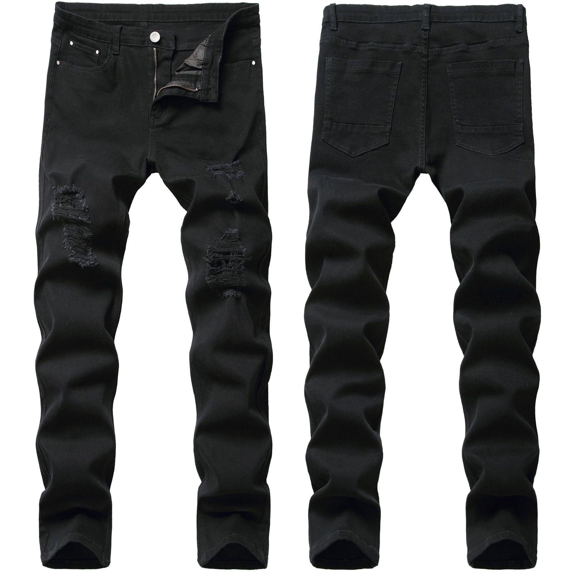 Sıska Erkek Siyah Kot Serin Erkekler Kot Yırtık Delik Streç Slim Fit Denim Biker Jeans Hip Hop Erkekler Streetwear 2021 #
