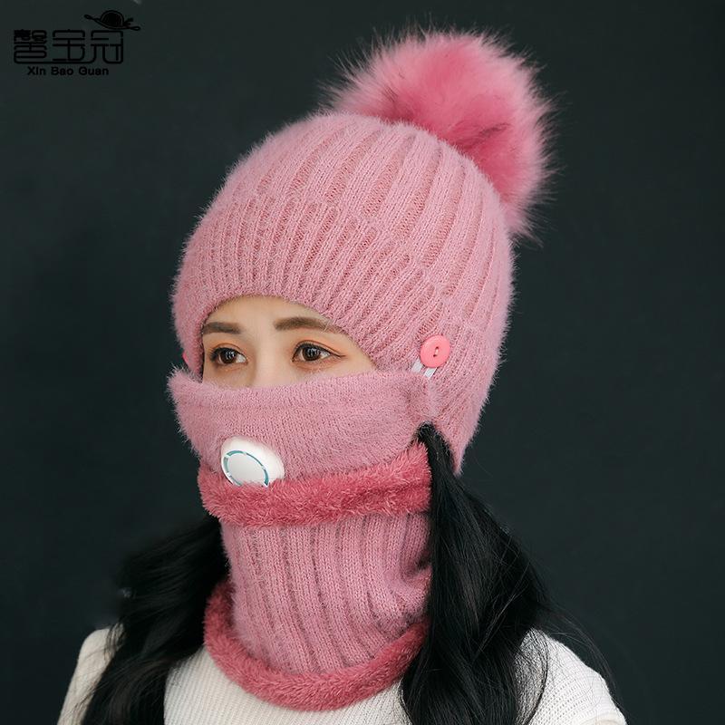 Шерстяной женский дыхание костюм теплый вязаная шапка велосипедный и бархатный шарф лыжные шапки зимние шапки лыжные maskpink три отверстия