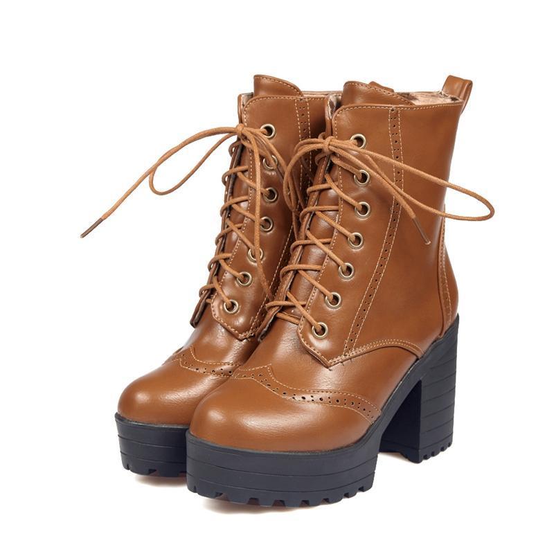 Lace up femmes bottes mode épais talon nouveau mi-veau chaussure femelle plate-forme bottes de caoutchouc femmes design design non glissé résistant à l'usure 580