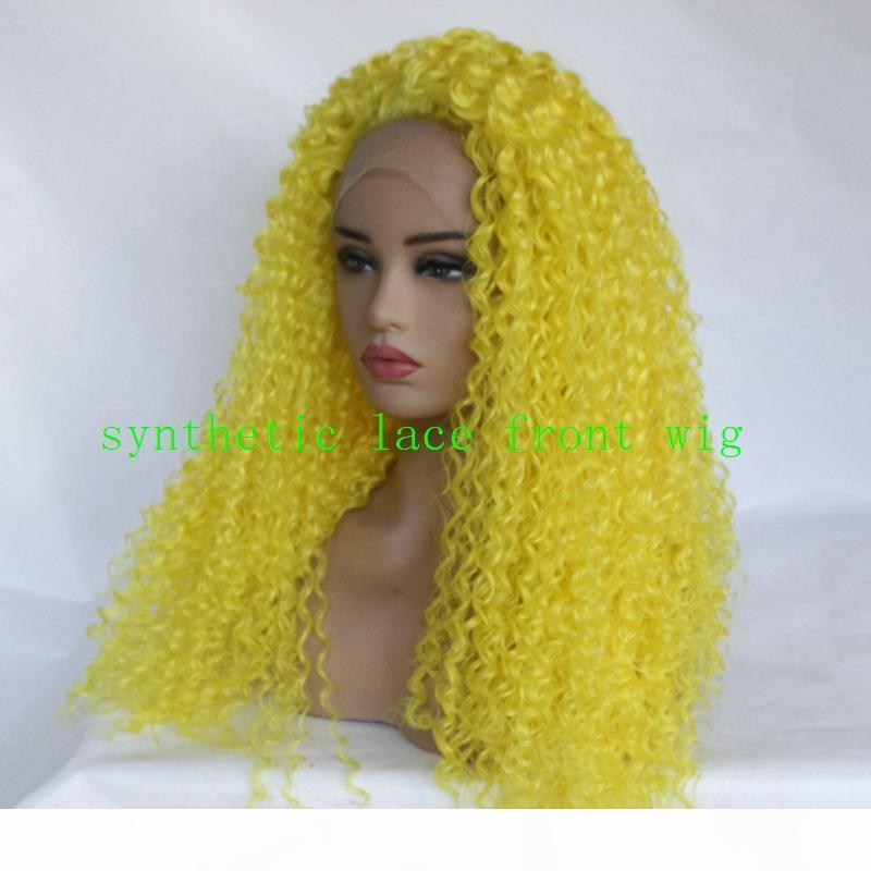 Ucuz Sarı Renk Tam Peruk Doğal Kinky Kıvırcık El Bağlantılı Isıya Dayanıklı Saç Kadınlar için Sentetik Dantel Ön Peruk