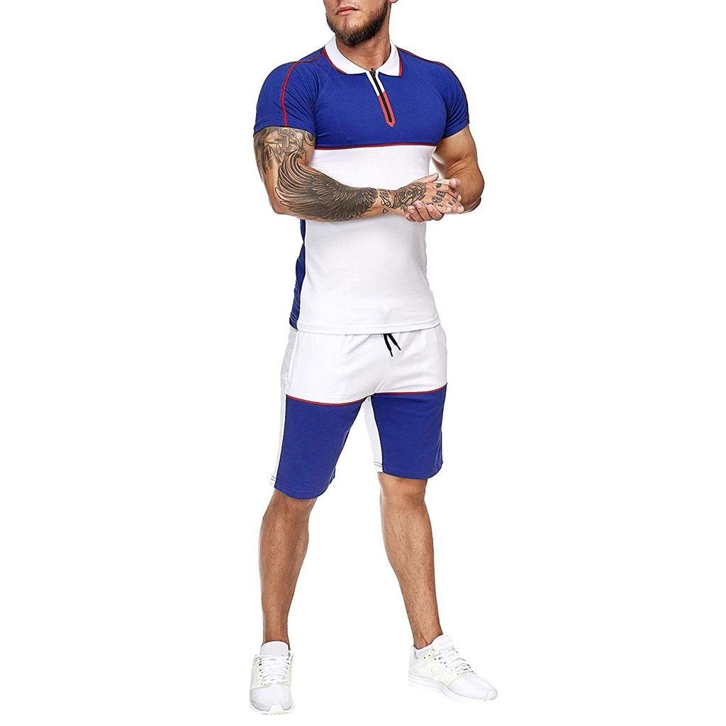 Jaycosin Summer Hommes Set Sportswear Mode 2020 Mens Patchwork Vêtements T-shirts T-shirts Courts Casual Tracksuits Ensembles Homme Track Costume T200707