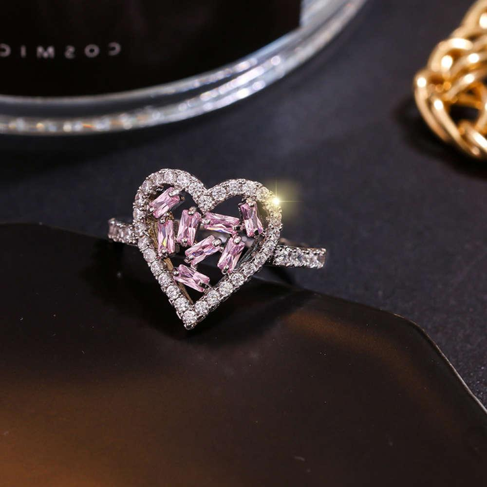 Minúsculo na moda cúbica zircônia cristal oco coração luxo qualidade cz pedra aberta anéis ajustáveis para mulheres jóias J-Z0087