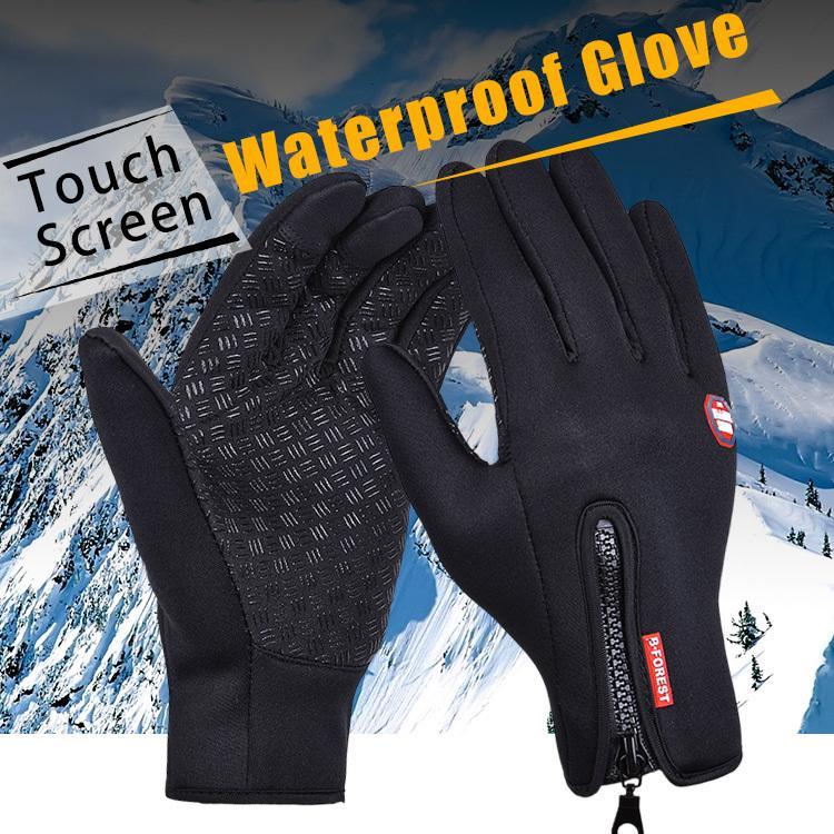 Guante deportes al aire libre windstopper impermeable montando motocicleta guantes protectores pantalla táctil pantalla de dedo completo negro