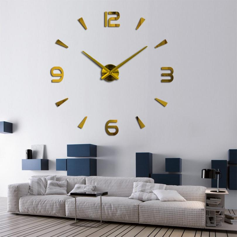 2019 Spécial grand diy quartz 3d horloge murale salon grand mur montre miroir autocollants miroir moderne design décor gratuitement lj201204