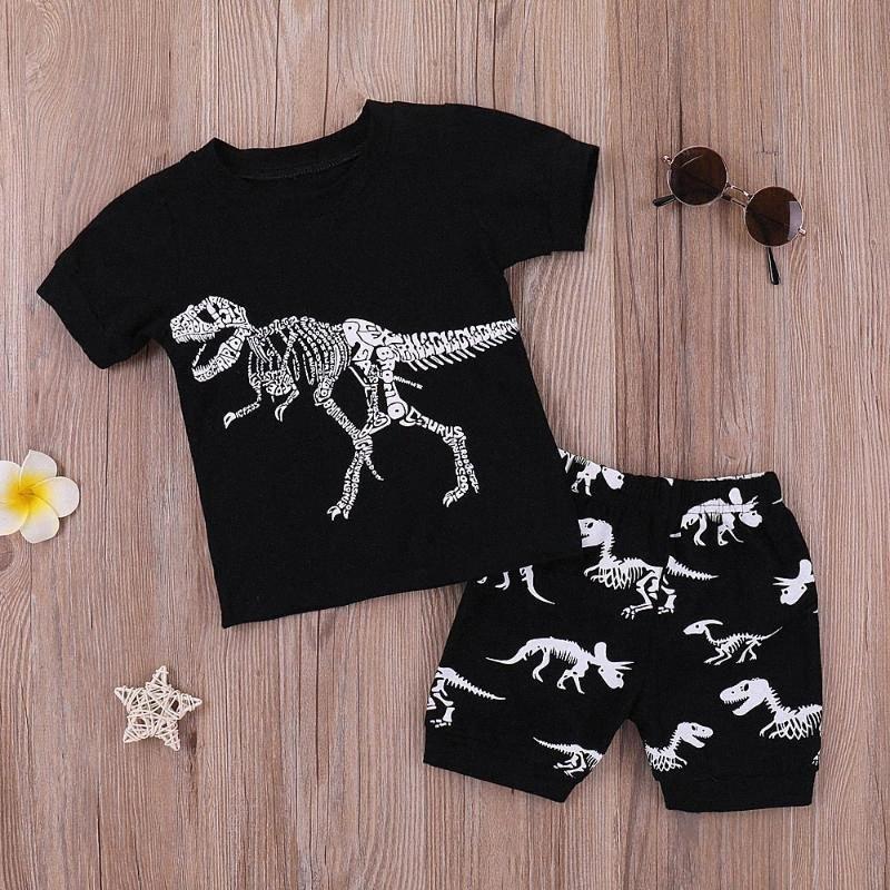 Fashion 2pcs Set Toddler Kid Baby Boys Short-Sleeved Dinosaur Skull Bone Cartoon Print Summer Top T-shirt Shorts Pants Outfits 39SW#