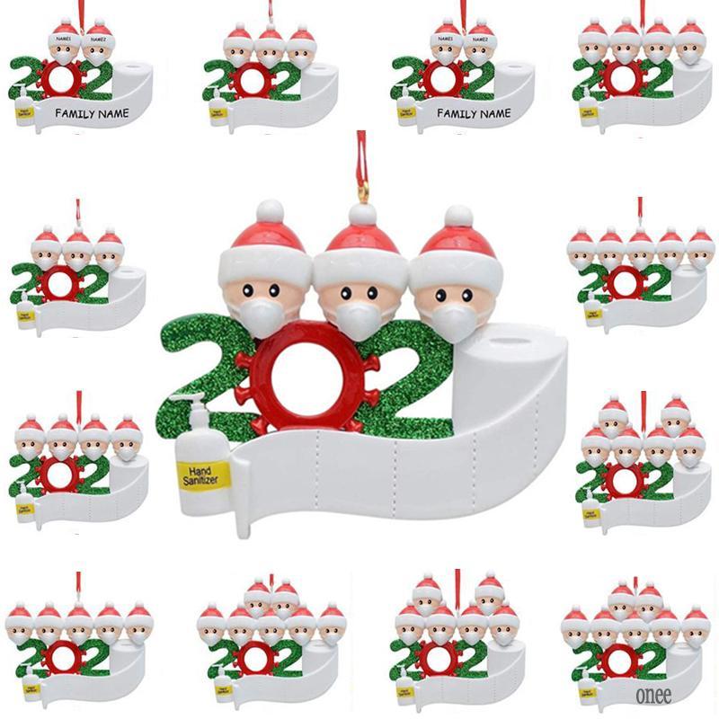 2020 Decoración navideña DIY Sobrevivió la máscara familiar Muñeco de nieve Colgante Colgante Bendición PVC Resina Año Nuevo Árbol Surviviente Creativo Ornamento