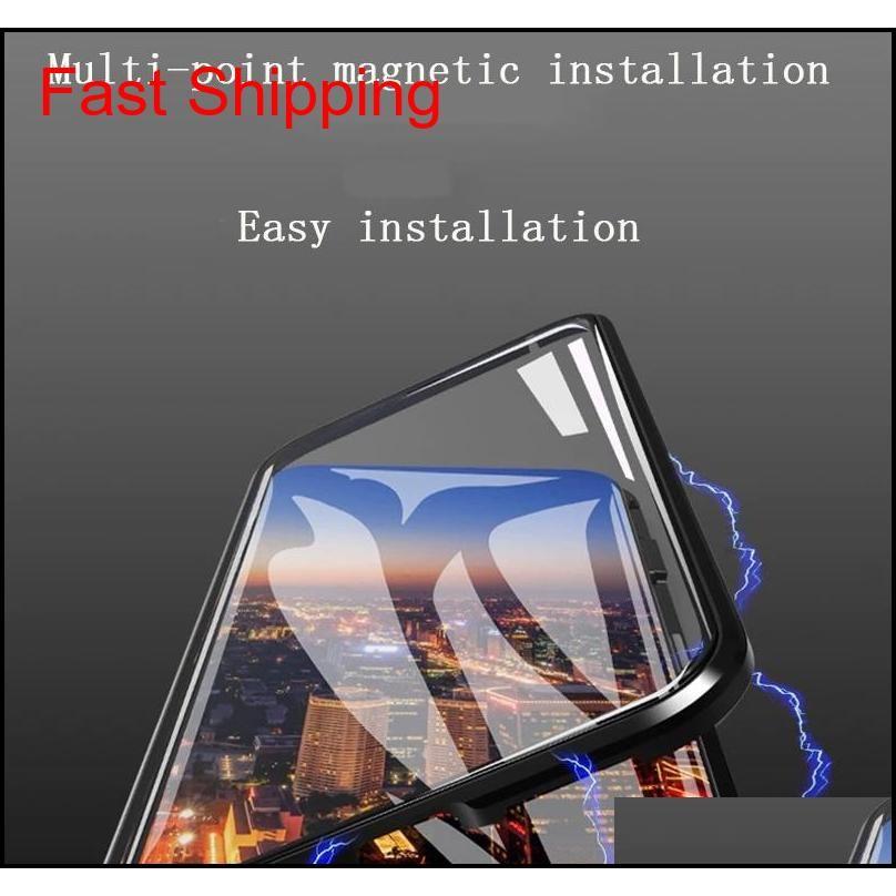 Для iPhone XS MAX Чехол для телефона Вторым поколением Двустороннее стекло Магнитный металлический каркас для телефона Чехол для техники 2 шт. Доставка / оптовая продажа F7 Exnod