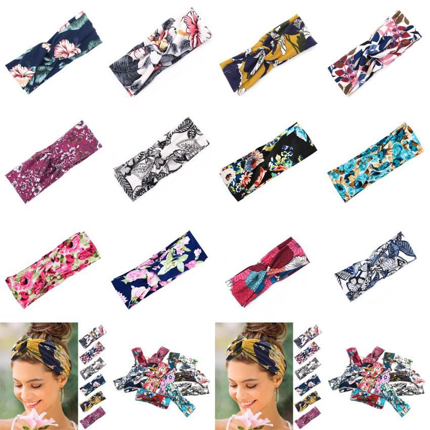 12 Stiller Kadın Yoga Spor Saç Bantları 8 * 24cm Charm Çiçek Çapraz Hairband Baskılı Knot Kafa Geniş Brim Saç Aksesuarları CYZ2846 350Pcs