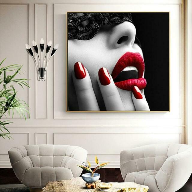 Sexy weibliche rote Lippen und Nägel gerahmt Ungerahmt Wohnkultur Handkräfte / HD-Druck Ölgemälde auf Leinwand-Wandkunst-Leinwandbilder 200