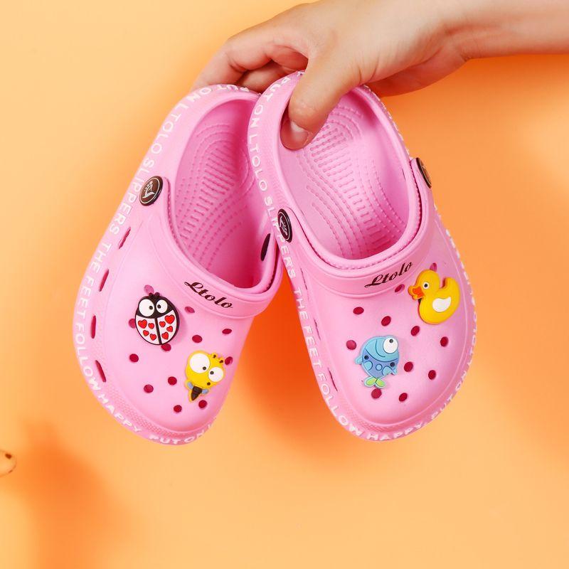 Kızlar EUR23-34 İçin Takunyalar Ltolo Çocuk Yaz Çocuk Kız Mules Croc Garden Beach Terlik Sandalet Mağarası Delik Bebek Ayakkabı