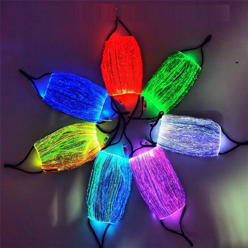 Красочные огни светодиодные маски лица унисекс дизайнеры Faceyask Reousable Дышащая ночь зажигают светящиеся маски USB зарядки рождественской клуб B