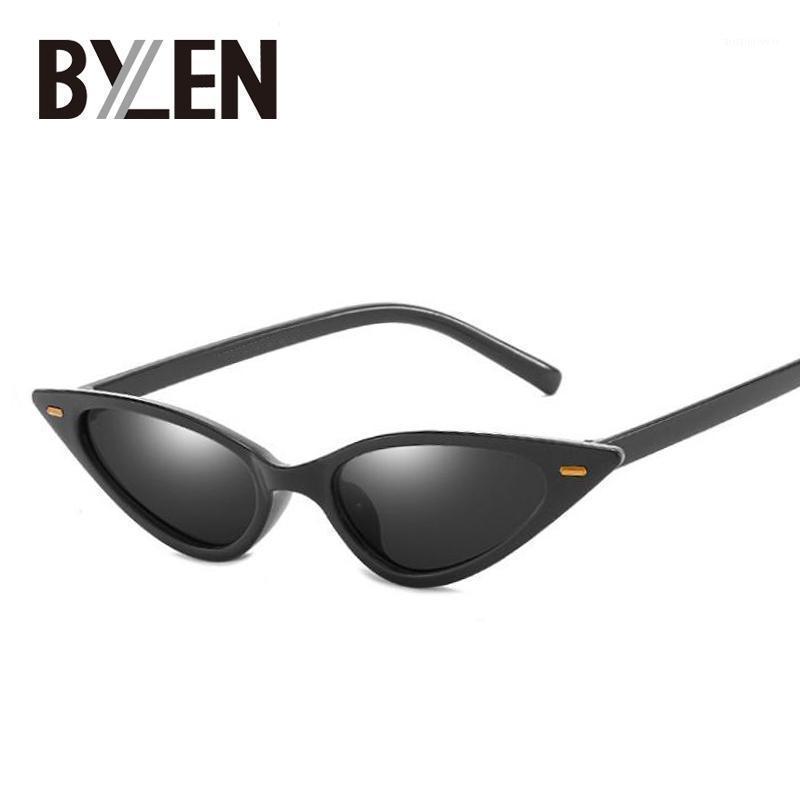 Small Cat глазные солнцезащитные очки женщины узкие тонкие ультра свет Ретро дешевые Cateye солнцезащитные очки UV400 Candy Color Shades1