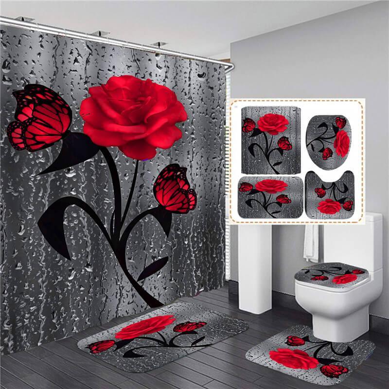 الحمام مجموعات دش ستارة مجموعة 4 قطع وشملت ماء الحمام الحمام الستائر غطاء غطاء المرحاض حصيرة غير زلة البساط الركيزة