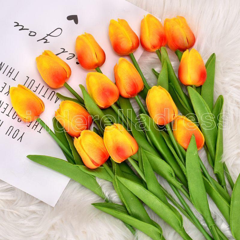 50pcs Tulips en latex artificiel PU fleur Bouquet Véritable Touch Fleurs pour la décoration de la maison Fleurs décoratives de mariage 32 couleurs Option Fy242