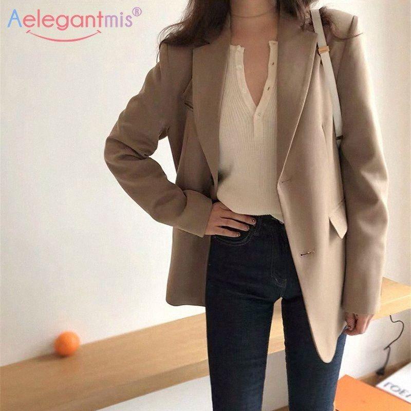 Aelegantmis resorte nuevas de la manera chaqueta de la chaqueta de las mujeres bolsillos Casual manga larga Trabajo capa del juego Office Lady sólido delgado Blazers Y200107 B2GP #