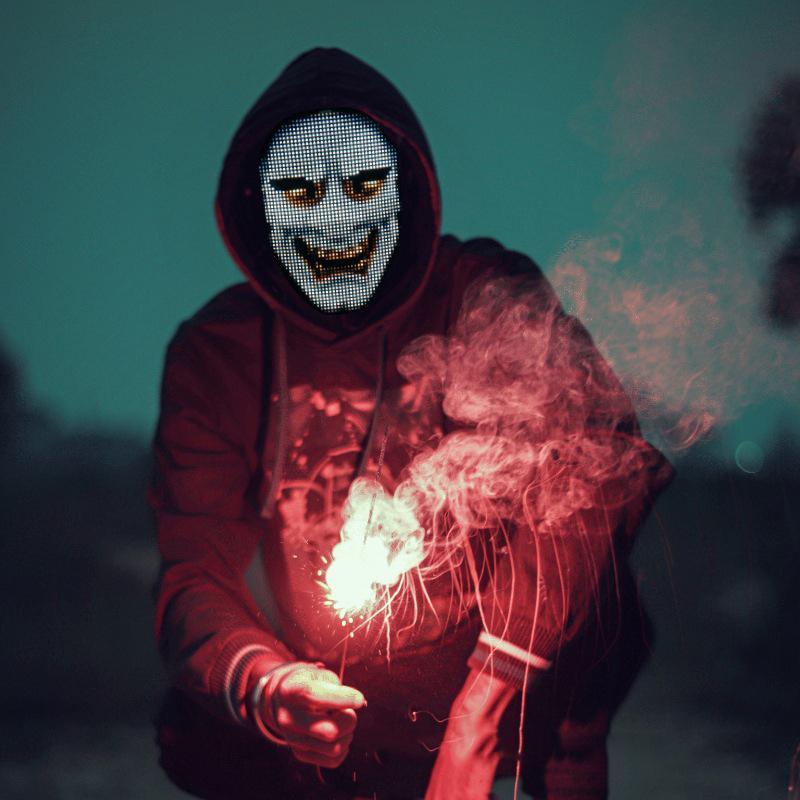 LED Face Mask Light Full Color Blue Denti APP Controller APP Viso Maschera lampada per Halloween Bar KTV Dancing Festival Party