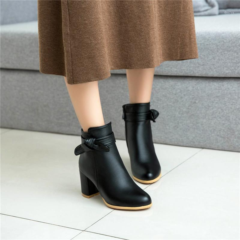 YMECHIC White Black Boots Chunky Block High Heels Bowtie Fashion Ankle Boots Party Wedding Ladies Shoes Office Plus Size Bootie1