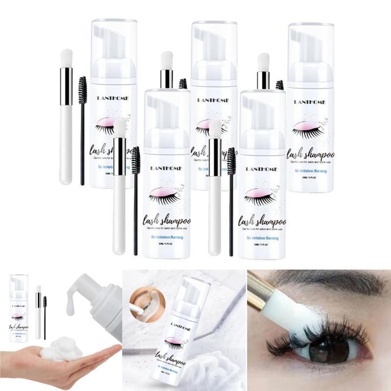 5x Eyelash Extension Shampoo 50ml LET FOAM FOAMING CLEANSER PARA LA EXTENSIÓN DE LA EYELASH PARA EL SALÓN PERSONA DE LA EYELASH DE SALON Retire el kit de cepillo de champú