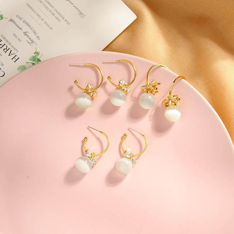 kissme Unique Acrylic Crystal Zircon Flower Drop Earrings For Women Delicate Opal Bead Gold Color Brass Earrings Fashion Jewelry